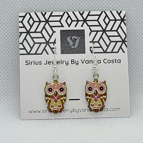 Owl Earrings Brown