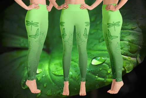 1f71806ed790b High Wasted Gorgeous Green Butterfly & Dragonfly Leggings