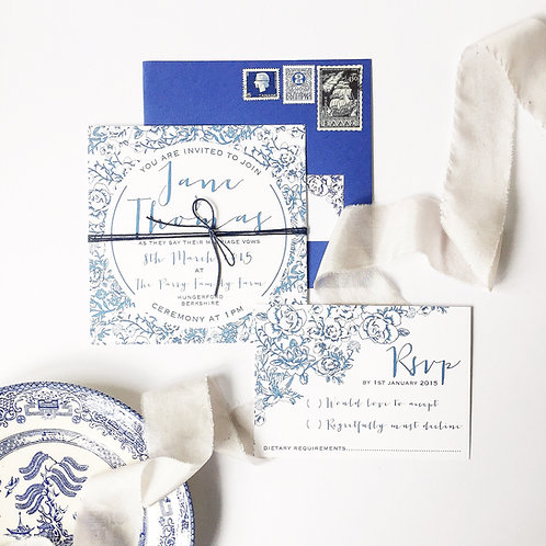 Willow pattern wedding invite & RSVP