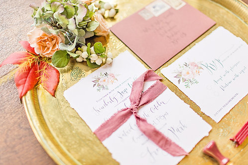 Hand Torn calligraphy invite