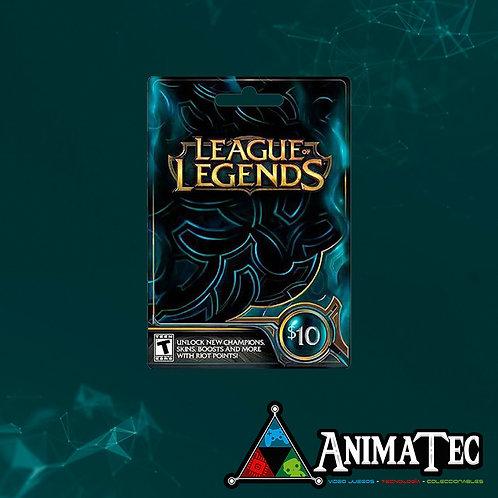 Tarjeta de 10 dólares para League of Legends