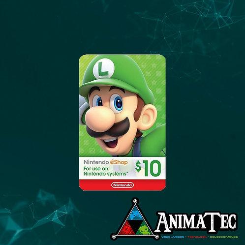 Tarjeta de 10 dólares Nintendo