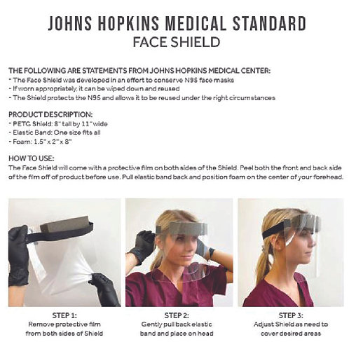 John Hopkins Medical Standard Face Shield - Box of 5