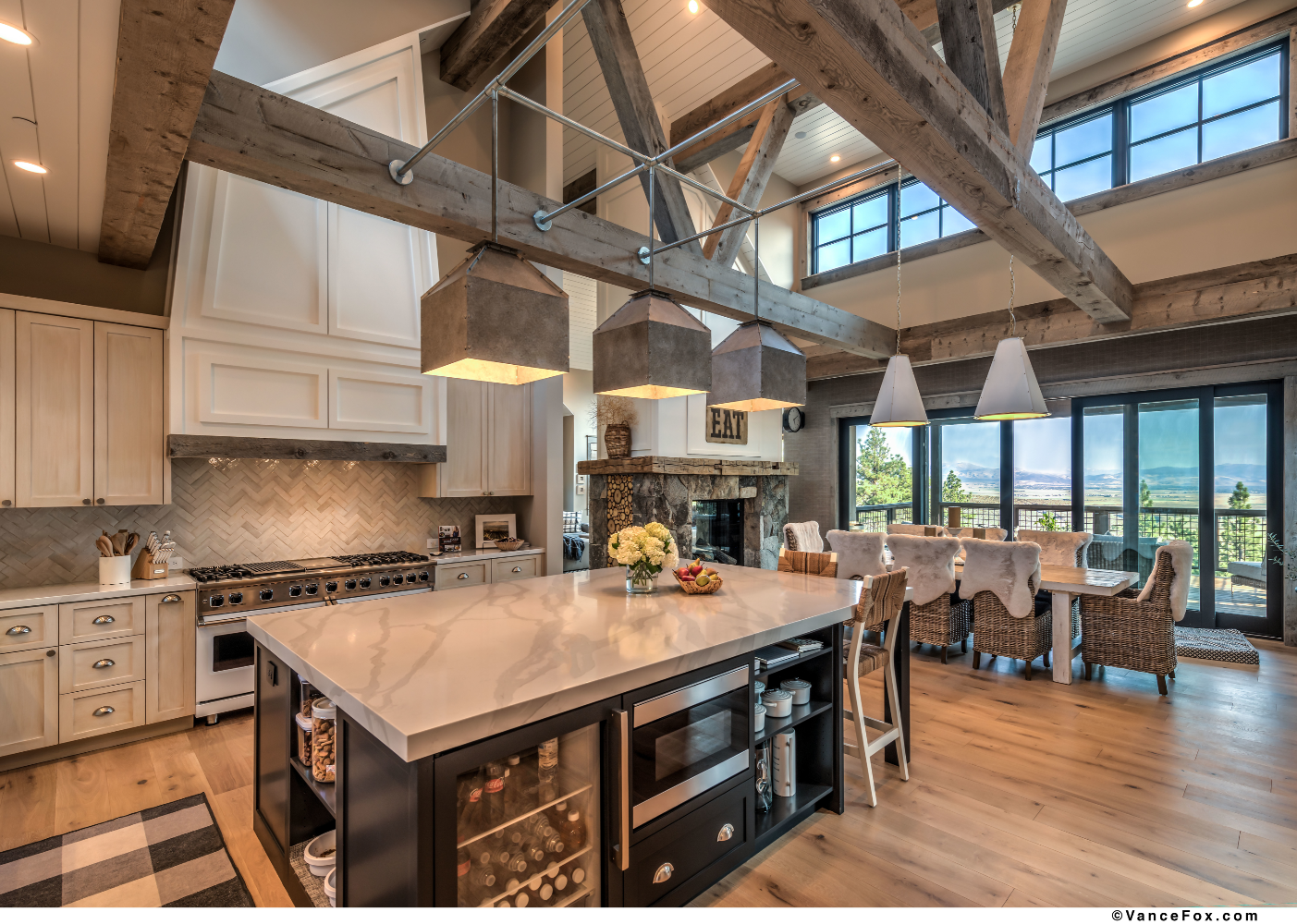 Godfather of All Farmhouses, Kitchen Island, Clear Creek Tahoe