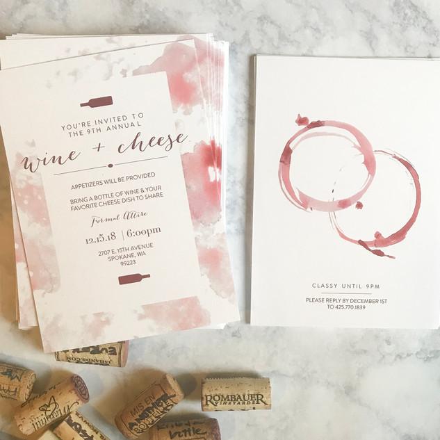 Hand Water Colored Wine + Cheese Invite
