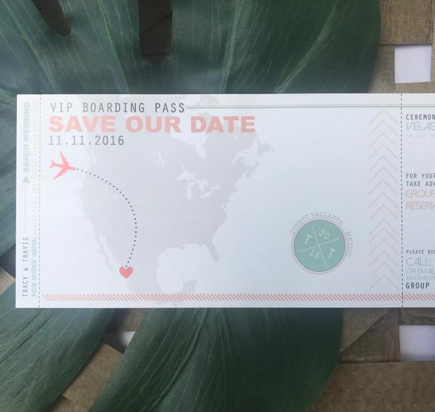 """""""Ticket"""" Save the Date - Destination Wedding"""