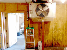 Repaired air conditioner with ceiling still in need of work. (April 2020)