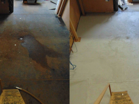 Before and after floor patching and sealing.