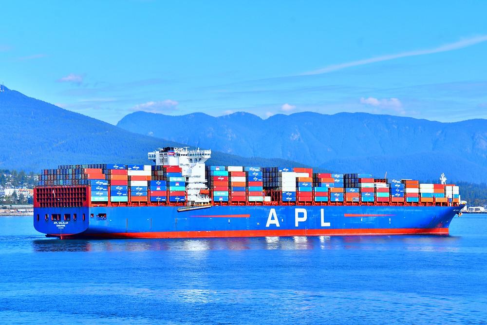 Global Port cargo ship sailing