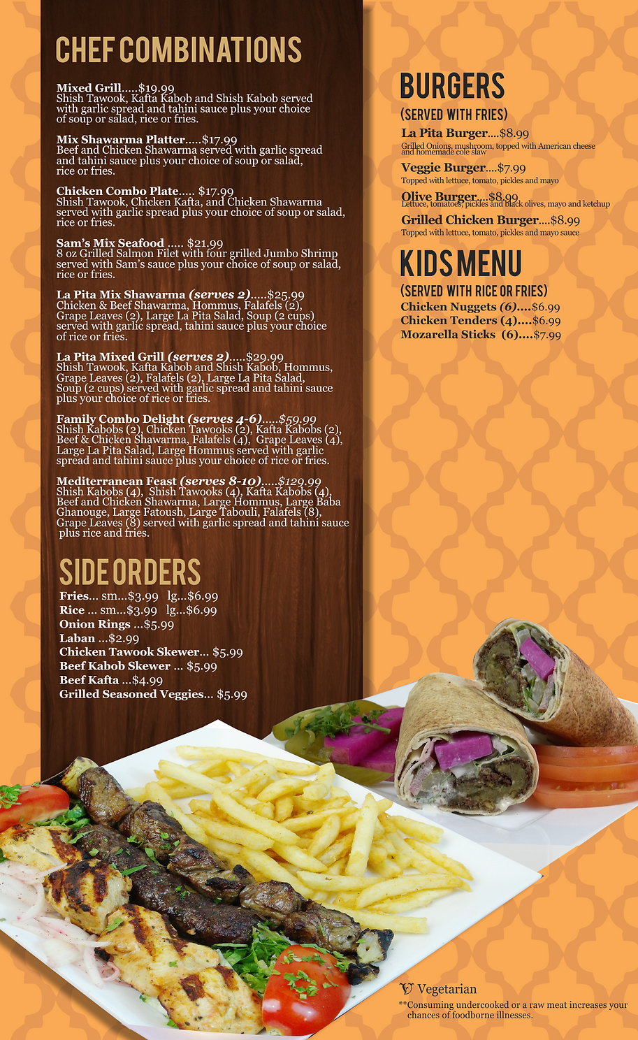 La Pita Kids Dinner Menu