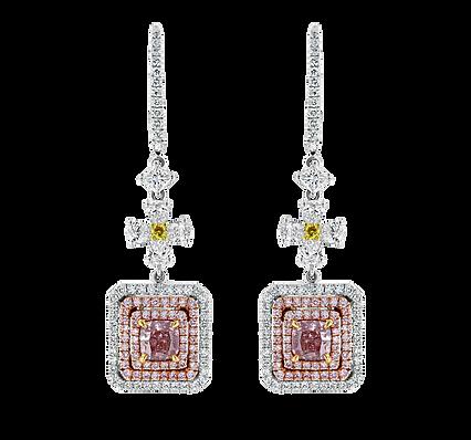 Fancy Light Pink Diamond Drop Earrings