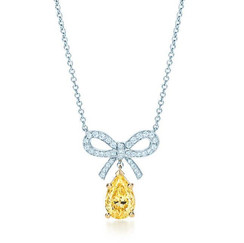 9819_Tiffany Yellow Diamond bow pendant_