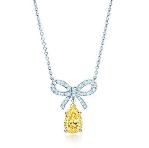 9819_Tiffany Yellow Diamond bow pendant_