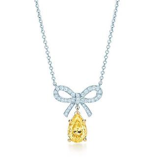 Tiffany Bow Fancy Vivid DiamondNecklace