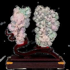 Jadeite Pair of Flowers