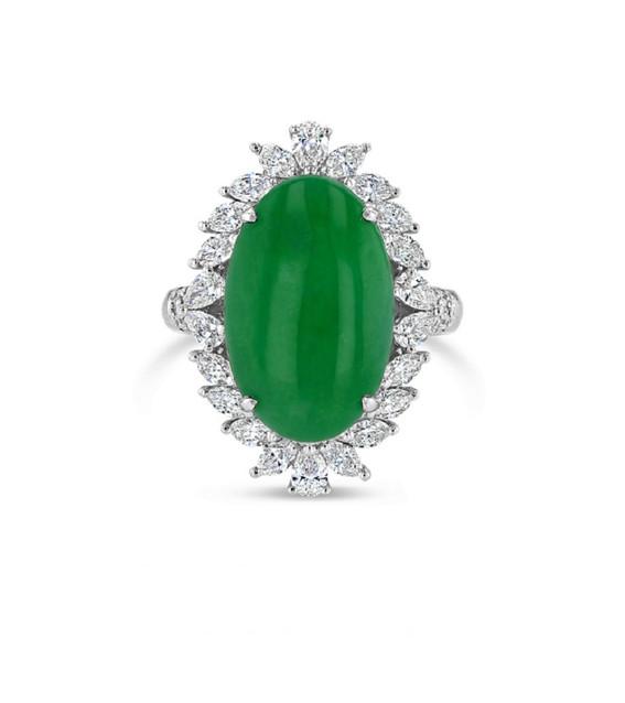 Oval Jadite Diamond Ring