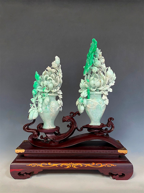 Jadeite Pair of Vase