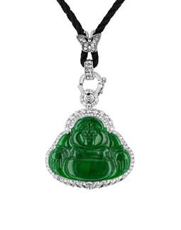 Jadite Buddha & Diamond Corded Necklace