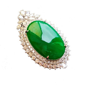 Oval Jadite & Diamond Necklace