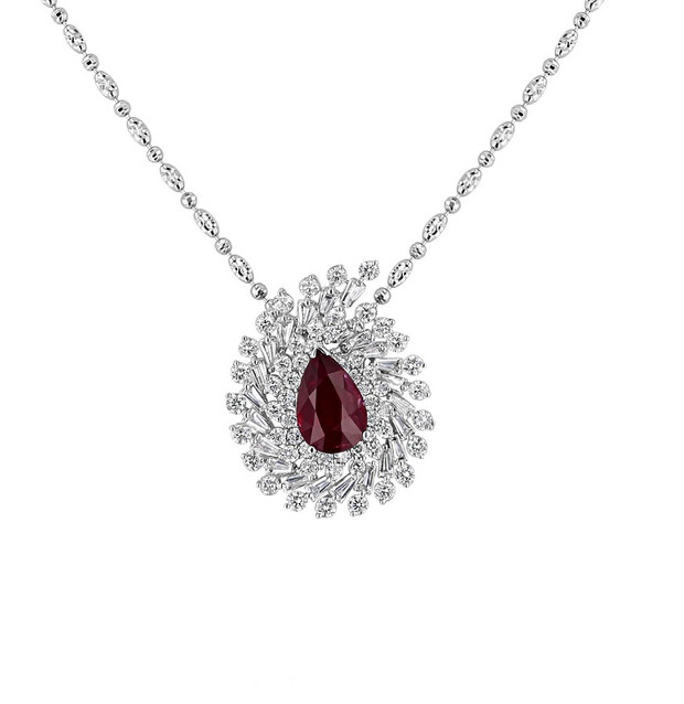 Pear Shaped Ruby & Diamond Pendant Necklace