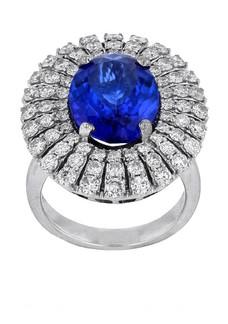 14KT White Gold Ladies Cast Tanzanite & Diamond Ring