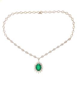 Emerald & Diamond Pendant with Chain
