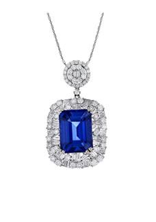 Tanzanite & Diamond Pendant with Chain