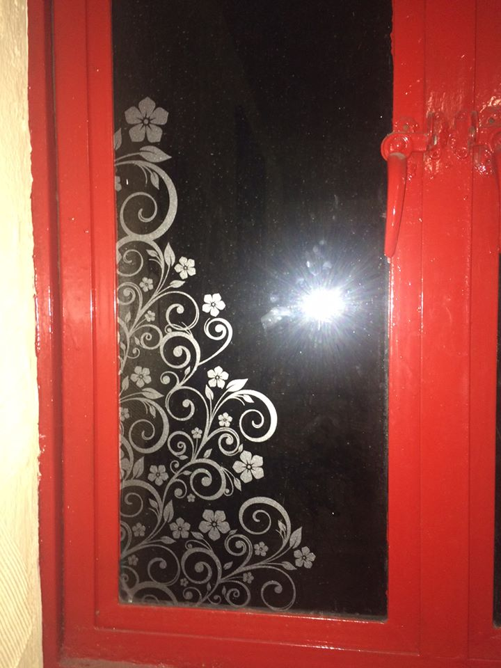 etched effect floral window graphics