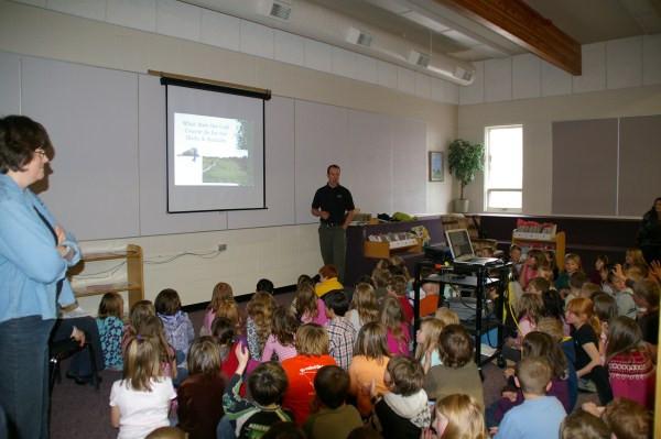 Superintendent Jason Clouston presenting At Olds ElementarySchool