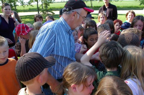 Dick Stauffer again showing kids about birds