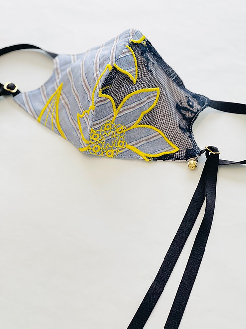 ストライプコットン刺繍レースオリジナルマスク