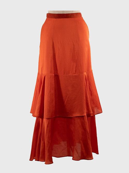 ビンテージサテン ロゴ刺繍ベルトティアードスカート