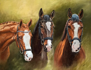 Horse portraits three horse heads painting