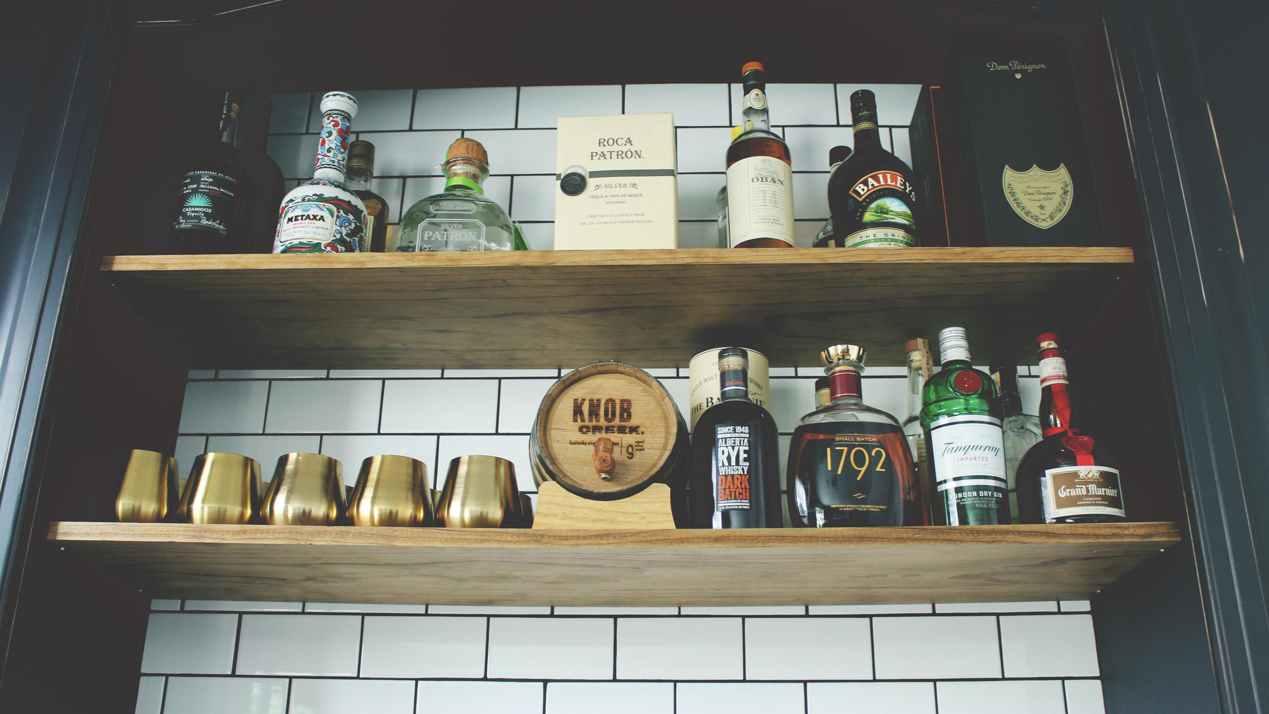 After: DIY Bar Shelves