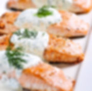 Poached Salmon with Cucumber Dill Sauce from Helga's Catering Dinner Buffet Corporate Catering Menu