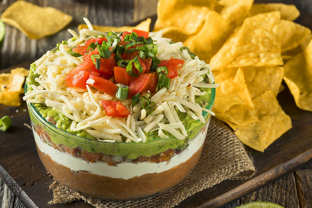 Seven Layer Dip from Helg's Catering Latin Paradise Party Menu