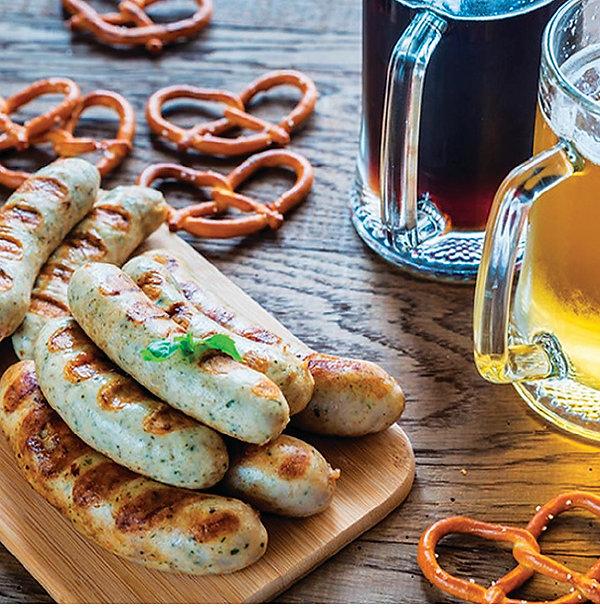 Bratwurst and pretzels from Helga's Catering Oktoberfest Menu