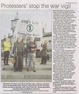 King's Lynn StoptheWar vigil in Downham Market 17 February 2012