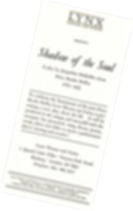 Promotion leaflet for the Lynx Theatre and Poetry production of Shadow of the Soul by Jacqueline Mulhallen
