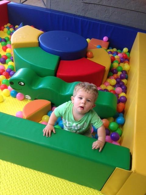 A tiny tot enjoying Tiny Tots Zone 2 at his first birthday party