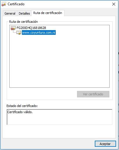 Captura del certificado de válidez del sitio web de Coyuntura lo que corrobora que nuestra plataforma no presenta ningún inconveniente de seguridad o ingreso.