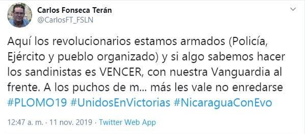 """Tuit de Carlos Terán recetando """"plomo"""" a quienes crean que la renuncia de Evo tendrá efectos en Nicaragua"""