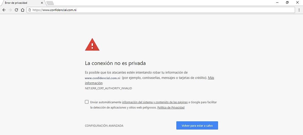Captura del sitio web de Confidencial bloqueado en la red Wi-Fi de la UNAN - Managua