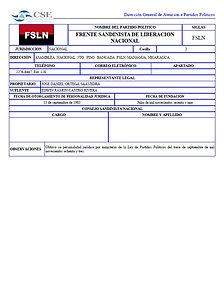Ficha técnica del FSLN en el sitio web de la Asamblea Nacional de Nicaragua