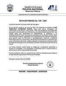 Nota de Prensa sobre detención de Juan Sebastián Chamorro