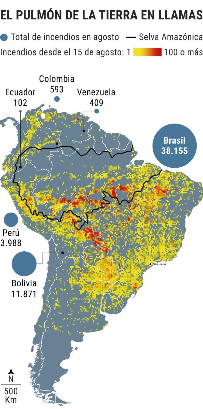 Fuentes: NASA / Instituto Nacional de Investigaciones Especiales de Brasil