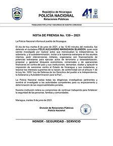 Nota de Prensa sobre detención de Felix Maradiaga