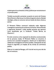 Comunicado del Ministerio Público solicitando la inhabilitación de Chamorro para cargos públicos