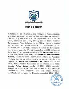 Nota de Prensa del Ministerio de Gobernación anunciando las primeras citatorias