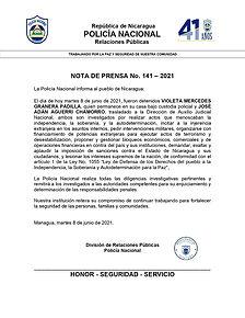 Nota de Prensa sobre detención de Violeta Granera y José Adán Aguerri